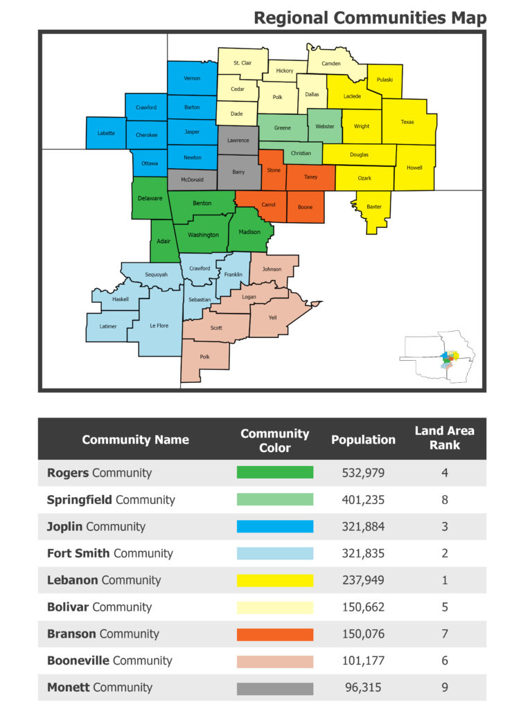 Map of the 51 counties in four states involved in the Regional Health Assessment