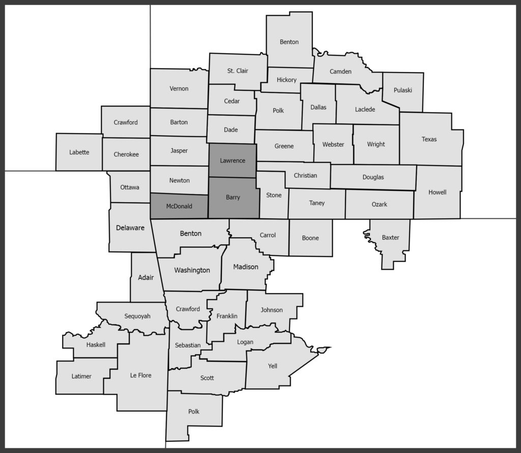 Map highlighting the counties in the Monett Community