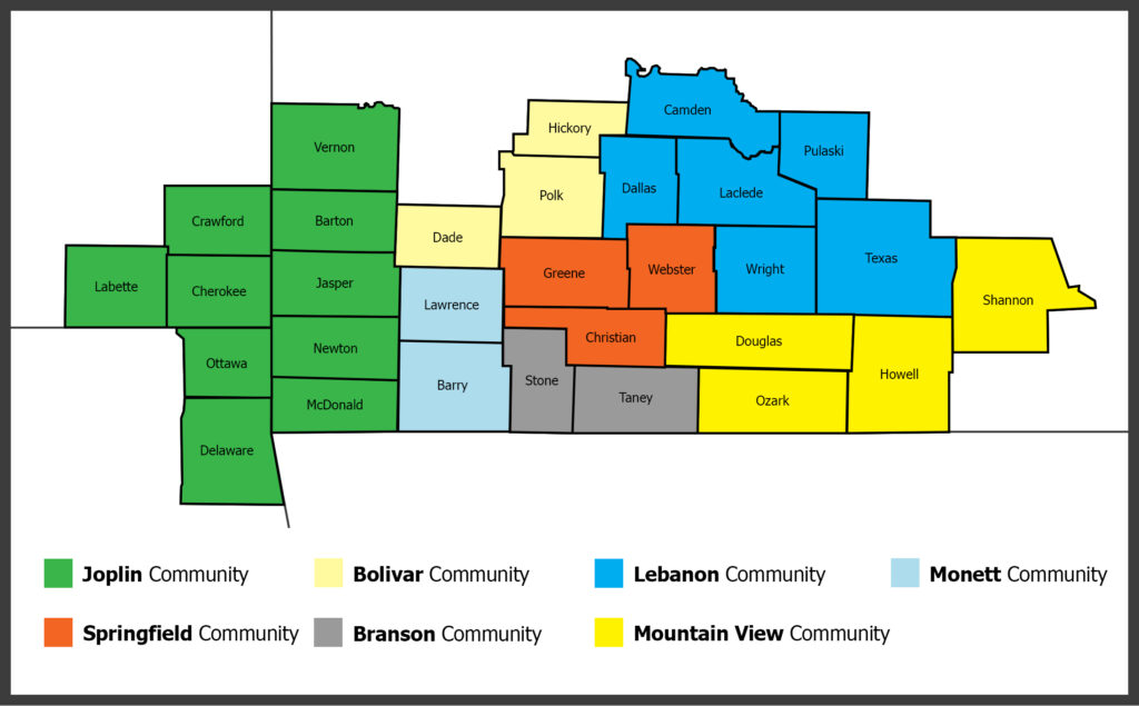 The counties and communities included in the 2022 Ozarks Health Commission Regional Health Assessment.